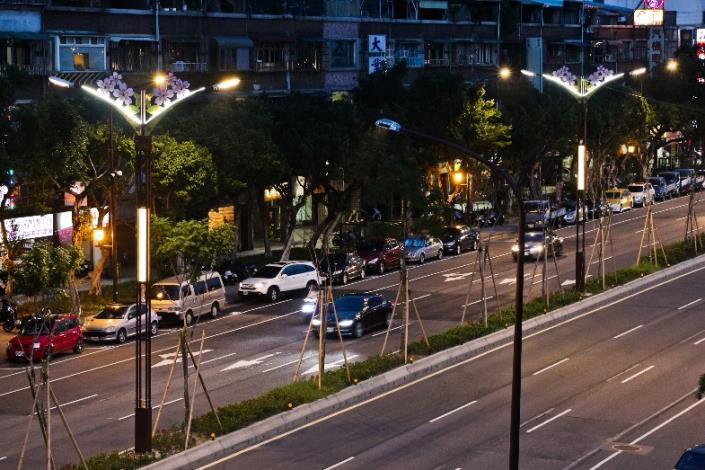 相片8-大業路櫻花路燈夜景