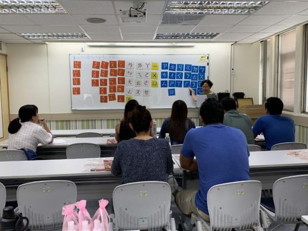 Teaching in the Chinese language class.