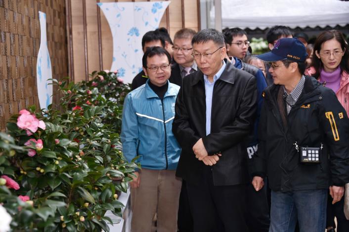 出席2018臺北茶花展開幕式 柯文哲:歡迎市民搭乘公共運輸來陽明山賞茶