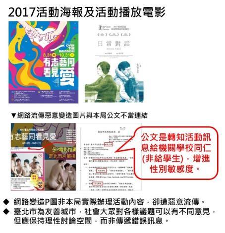 社群網站流傳遭惡意變造2017臺北市同志公民活動主視覺及本局公文產生不當連結-說明圖片[開啟新連結]