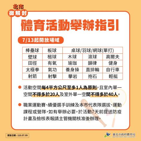 臺北市體育局微解封-體育活動舉辦指引