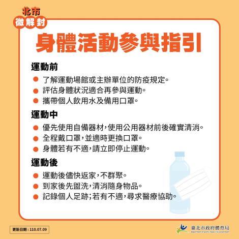 臺北市體育局微解封-身體活動參與指引