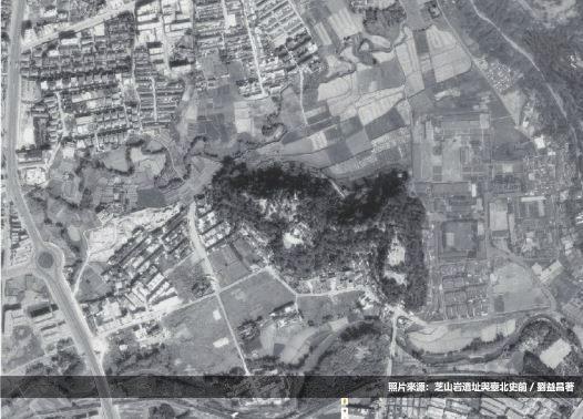 3-1974年航照圖中的芝山岩遺址及周邊圖像(照片來源:芝山岩遺址與臺北史前,劉益昌著).JPG