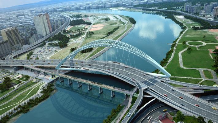 圖1 中正橋改建工程完工後模擬圖片[開啟新連結]