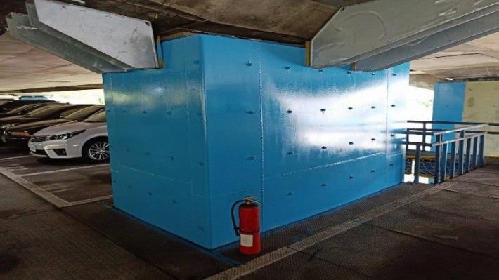 耐震補強鋼板包覆及支承剪力補強