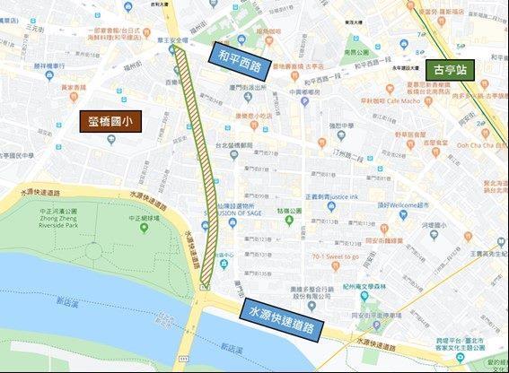 圖1 中正橋引道重慶南路高架橋拆除前現況平面圖