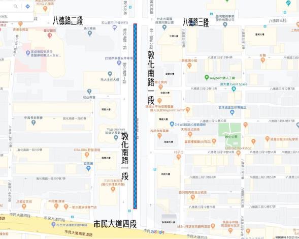 圖1 敦化南路一段南向公車專用道更新範圍圖
