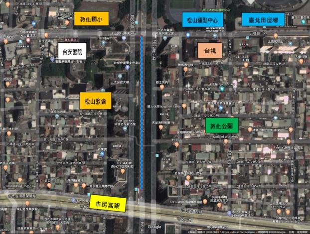 圖2 敦化南路一段南向公車專用道更新周邊地貌圖