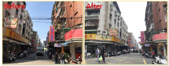 圖1 臺北市五常街53巷纜線地下化前後情形