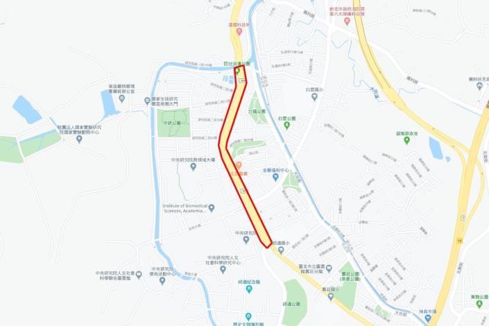 圖1 研究院路二段路面銑鋪施作範圍平面圖