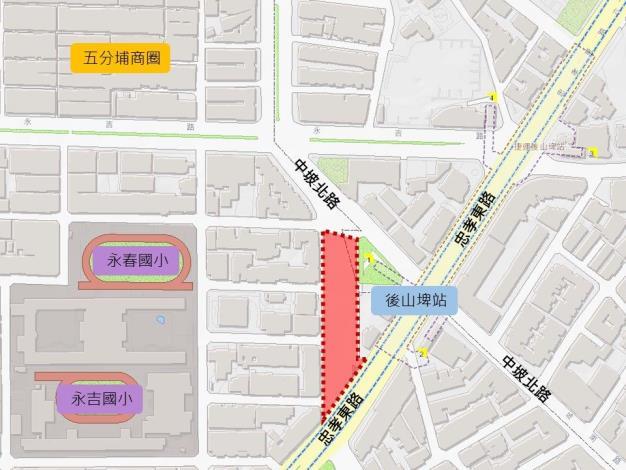 圖1 忠孝東路5段743巷更新範圍圖