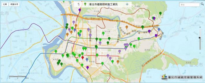 圖3 臺北市道路施工地圖