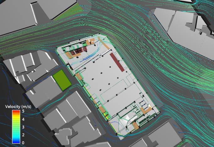 圖3南門大樓微氣候模擬示意圖