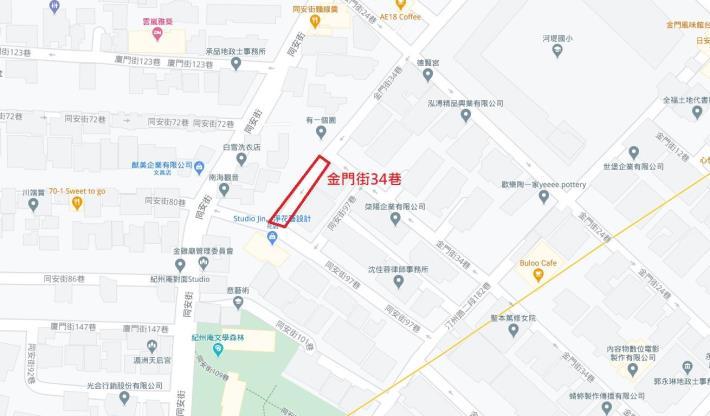 圖1. 金門街34巷平面位置圖