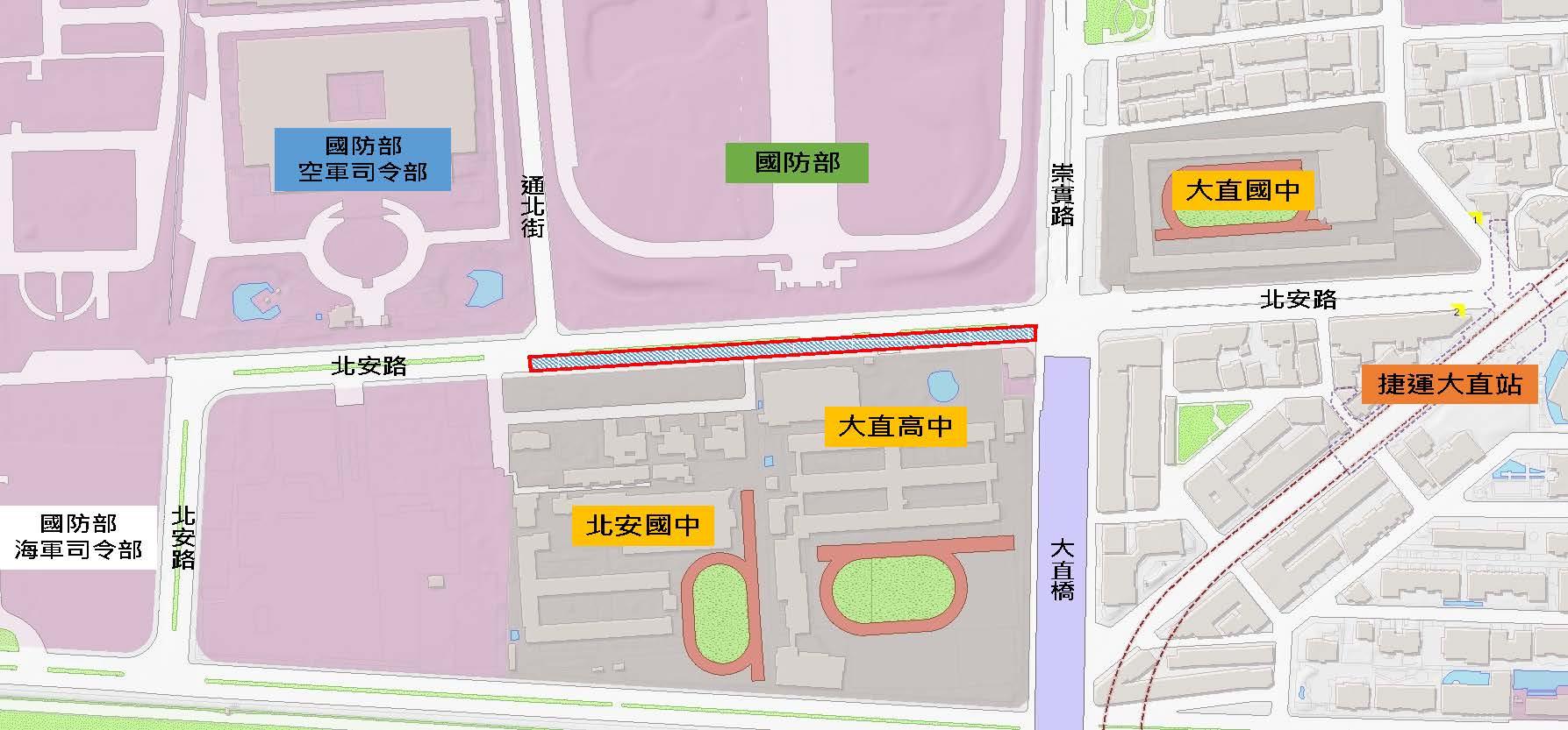 圖1北安路雙號側(通北街口至崇實路口)路面更新範圍