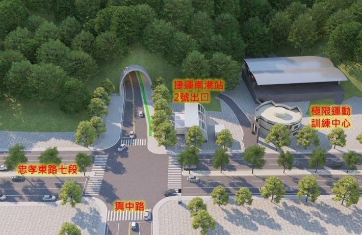 圖2隧道南口(忠孝東路7段與興中路口)周圍環境示意圖