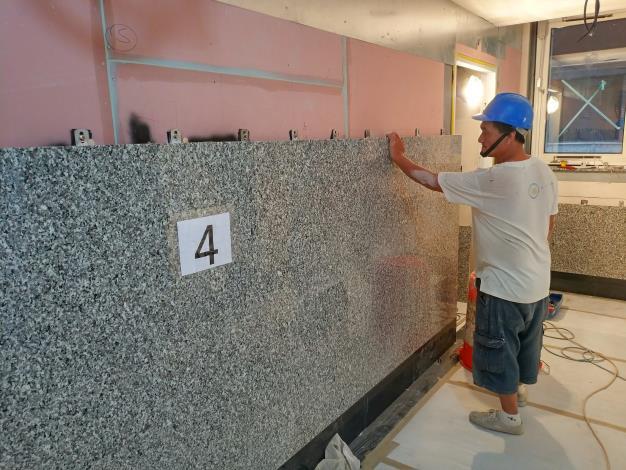 10811- 4F梯廳石材安裝作業