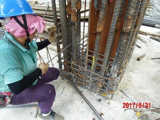 B1F A/D 1~4Line 柱鋼筋綁紮施工作業