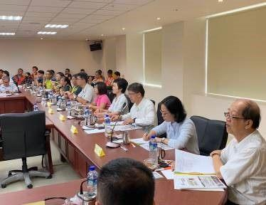 Photo 4. Site survey on June 24, 2019, with the appraisal committee members and the MOI attending the briefing session conducted by the city government