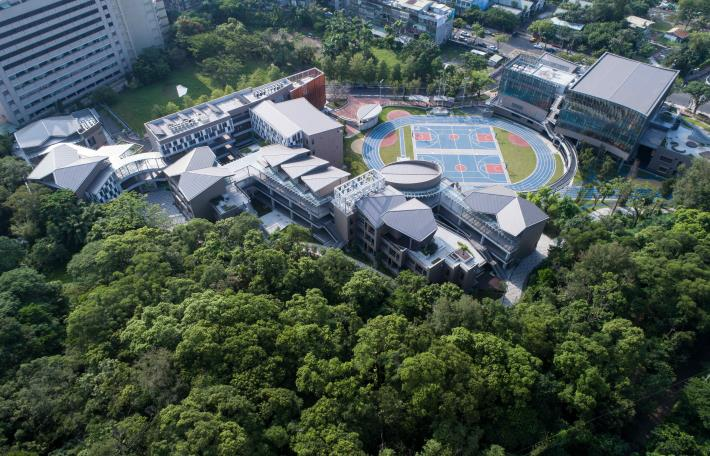 Figure 2. Aerial photography of the completed panorama of Yongjian Elementary School