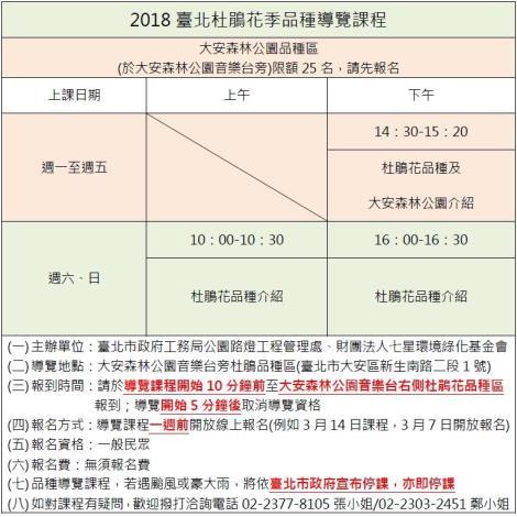 圖24.2018臺北杜鵑花季大安森林公園品種區導覽課程