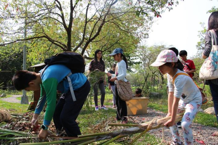 圖二、小朋友利用樹幹枯枝打造生物旅館。