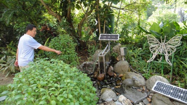 圖2、利用水力及光電發電系統提供夜間造型光雕用電
