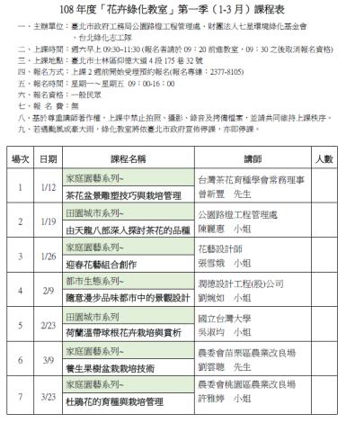綠化教室課程表