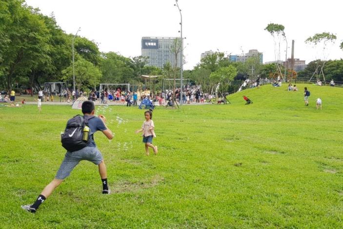 照片18.大草皮、綠草坡是遊戲場特別留白,可以自由玩耍,讓遊戲更多元