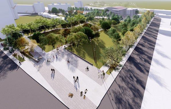 圖一 影視音園區及新興公園全區鳥瞰模擬示意圖