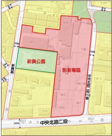 圖二 影視音園區及新興公園基地位置圖