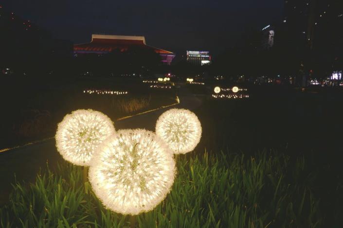 圖9.夜晚蒲公英造型燈營造浪漫氣氛