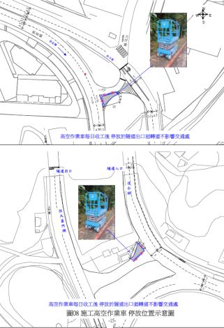 圖8.施工高空作業車停放示意圖