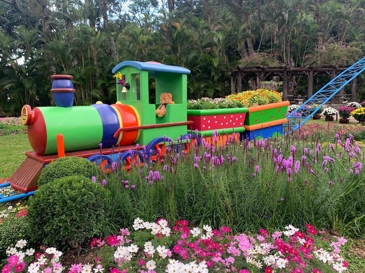 圖5. 歡樂雲霄飛車穿梭城堡花叢間