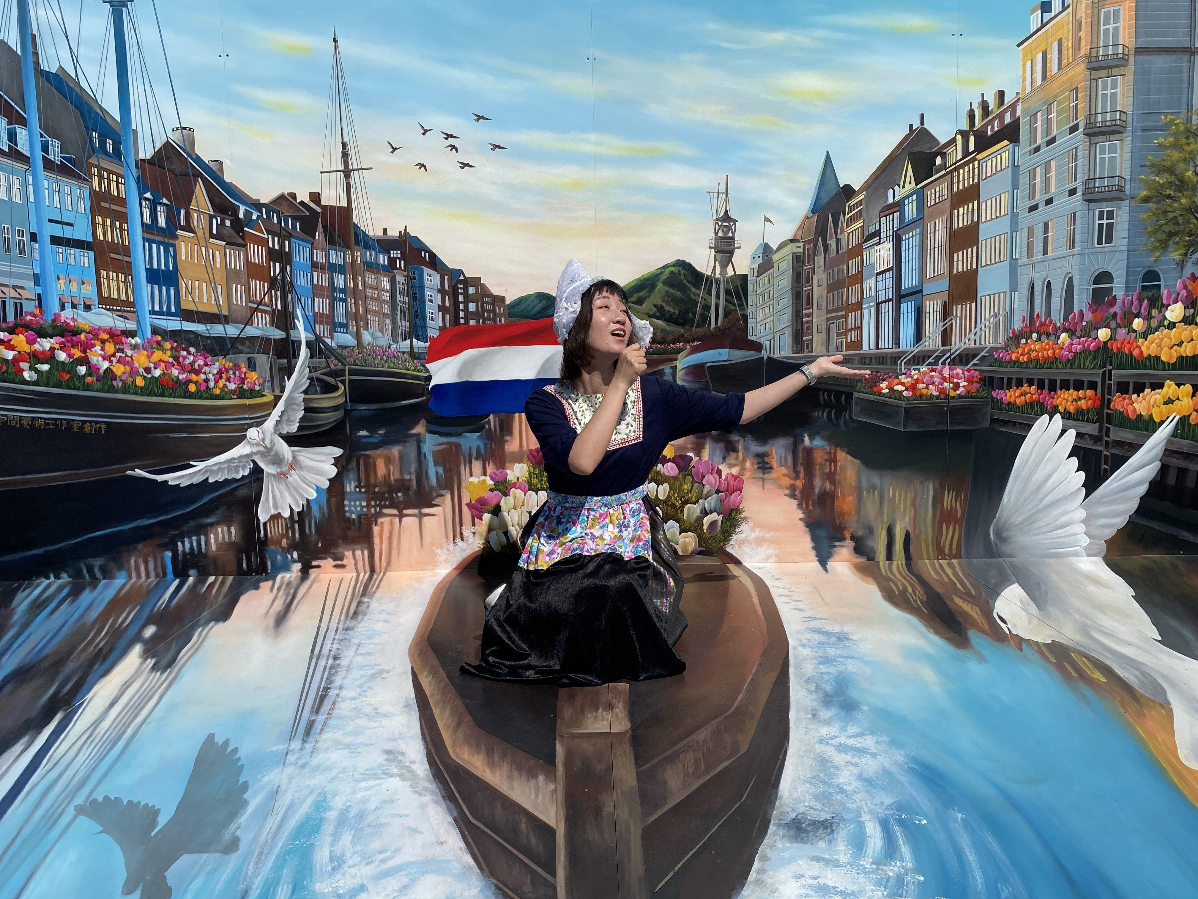 圖6.透過3D彩繪想像乘座遊船帶您遊阿姆斯特丹的運河屋