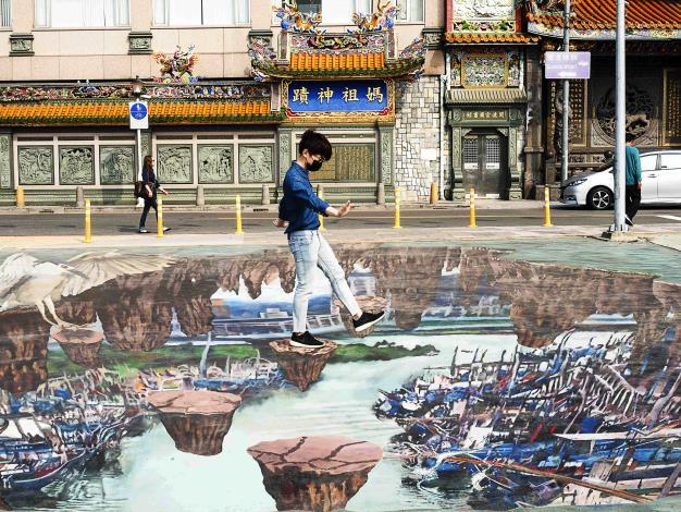 超逼真3D彩繪凌空眺關渡碼頭