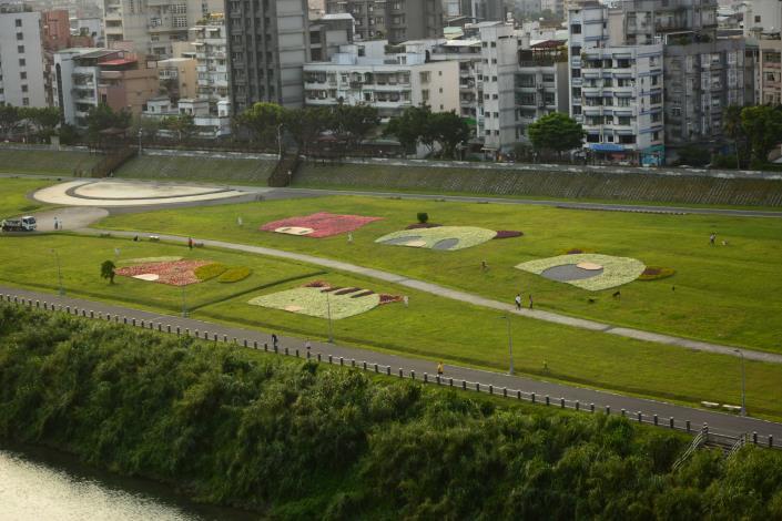 道南河濱花海有最佳高空觀賞點,就在政治大學藝文中心旁的水岸電梯[開啟新連結]