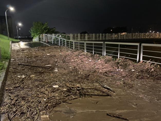 10月1日早上5點 雙溪左岸 有大量樹枝影響行進