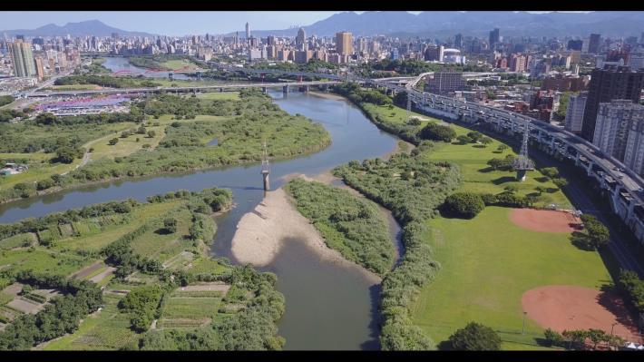 景美溪與新店溪匯流口照片