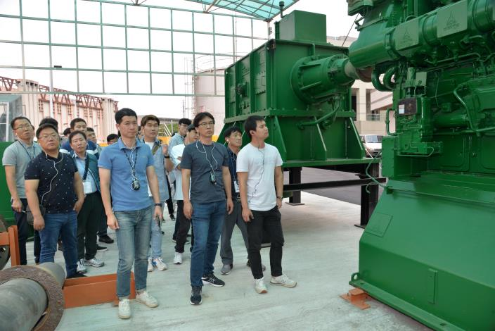 5號抽水機組拆卸留置於所屬治水體驗園區,圖為韓國參訪團之照片