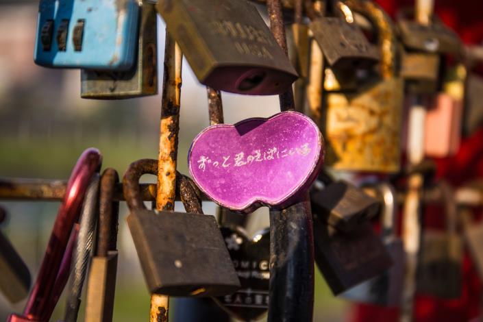 成美左右岸河濱公園設有多樣愛情主題設施物,像是愛情鎖