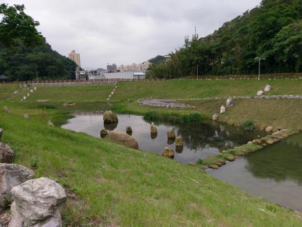 生態滯洪池於池內堆置既有塊石以營造多孔隙水中環境,兼具生物棲息用途及將來池中烏龜曬暖陽需求
