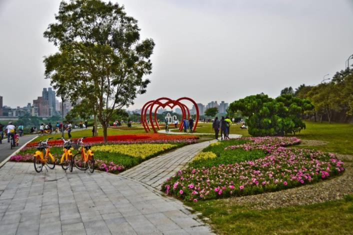 Heart-shaped arches and flower fields