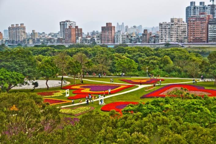 Art installation of photo frame and heart shaped flower fields in Guting Riverside Park
