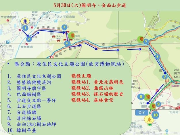 01圓明寺、金面山步道導覽活動路線圖