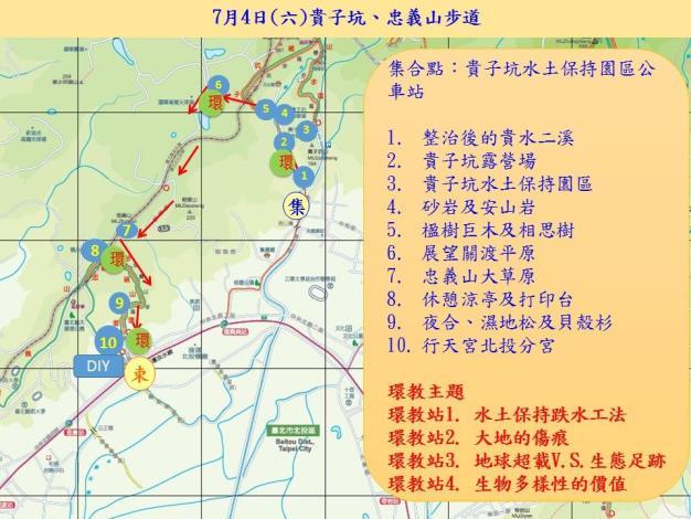 01貴子坑、忠義山步道縱走活動路線圖