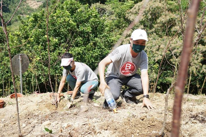 02艾瑪絲創辦人陳俊偉與員工團隊,和大地處共同種下一棵棵希望的樹苗-1