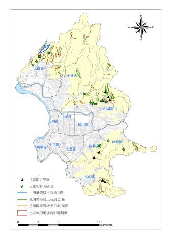 臺北市50條土石流潛勢溪流位置圖