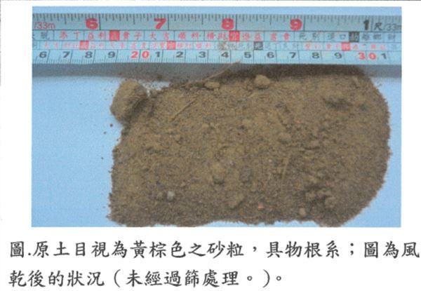 經送台大園藝系花卉實驗室檢驗水利處壤土合格後送本工程做植栽用土