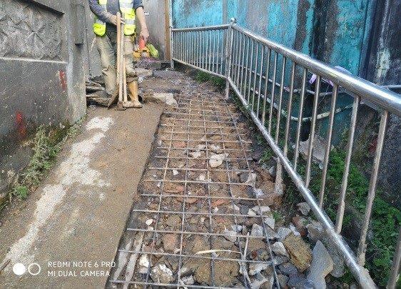 階梯點焊鋼線網舖設